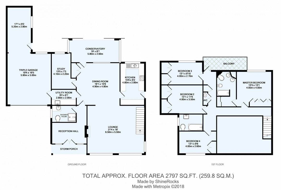 Floorplans For Woodcote Park Avenue, Woodcote Estate, Purley, Surrey